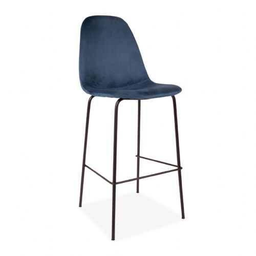 2x Eiffel Deep Blue Velvet Barstools, with Black Legs